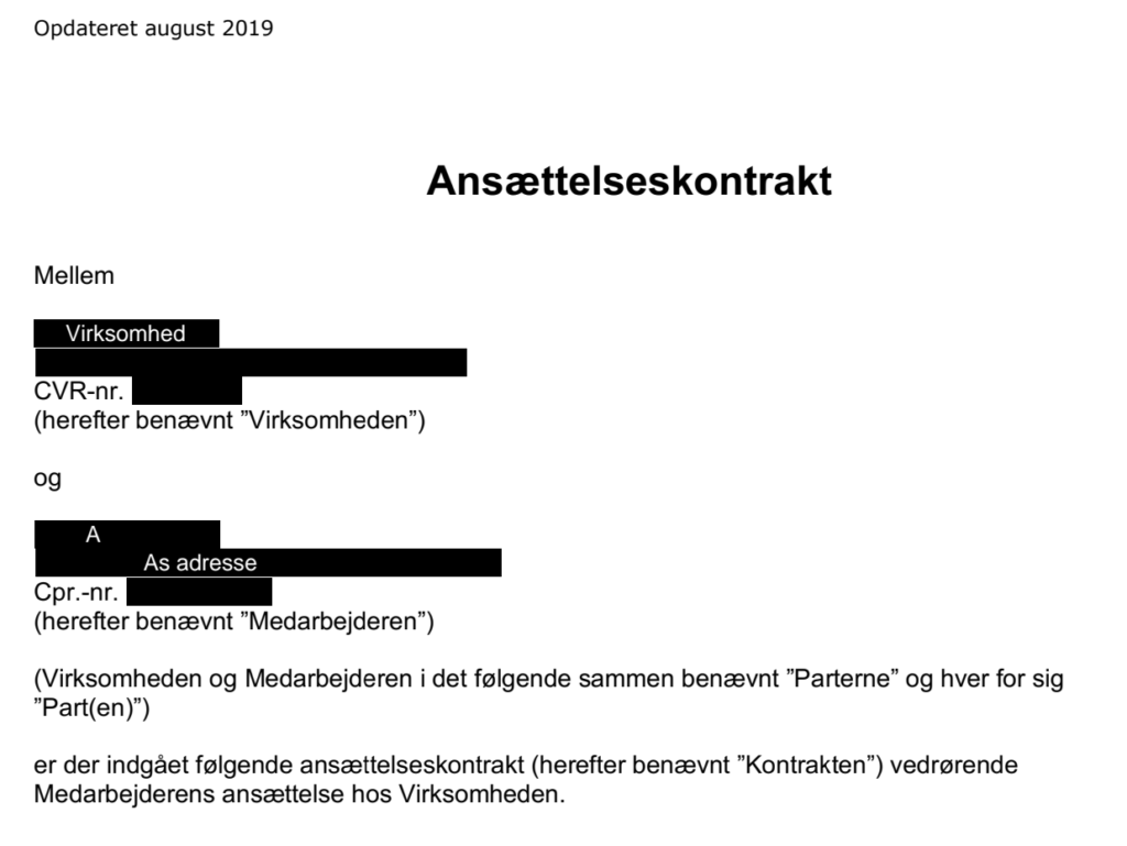 anonymiseret kontrakt