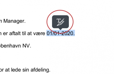 tekst markeret ad hoc